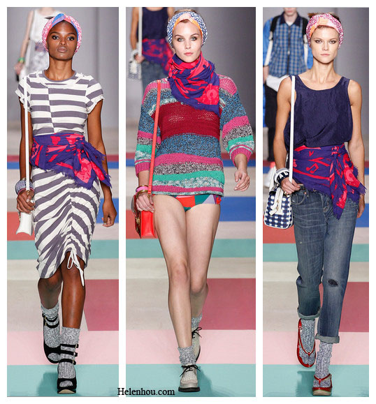 six ways to wear a scarf, Marc by Marc Jacobs Spring 2013 RTW, new york fashion week, blue and red scarves, slippers with socks, sandals with socks,  wooden geisha slipper, helenhou, helen hou, the art of accessorizing, accessoriseart, celebrity style, street style, lookbook, model off-duty,red carpet looks,red carpet looks for less, fashion, style, outfits, fashion guru, style guru, fashion stylist, what to wear, fashion expert, blogger, style blog, fashion blog,look of the day, celebrity look,celebrity outfit,designer shoes, designer cloth,designer handbag,