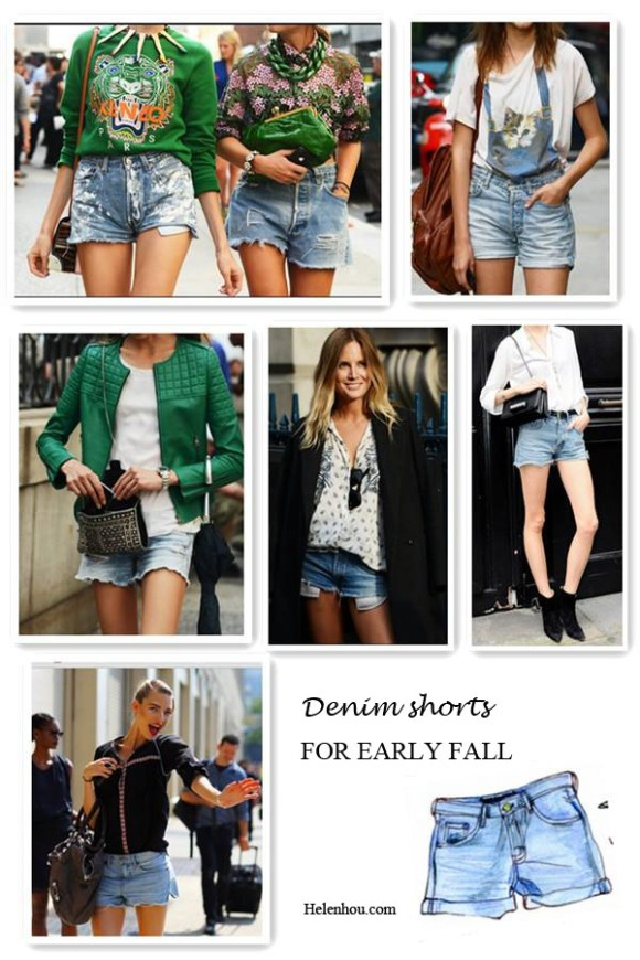 How to wear denim shorts, transform denim shorts into fall, New york fashion week street style, paris fashion week street style, spring 2013 runway shows, denim shorts, sweatshirt, statement necklace, white tee shirt, green leather jacket, valentino bag,  helenhou, helen hou, the art of accessorizing, accessoriseart, celebrity style, street style, lookbook, model off-duty,red carpet looks,red carpet looks for less, fashion, style, outfits, fashion guru, style guru, fashion stylist, what to wear, fashion expert, blogger, style blog, fashion blog,look of the day, celebrity look,celebrity outfit,designer shoes, designer cloth,designer handbag,