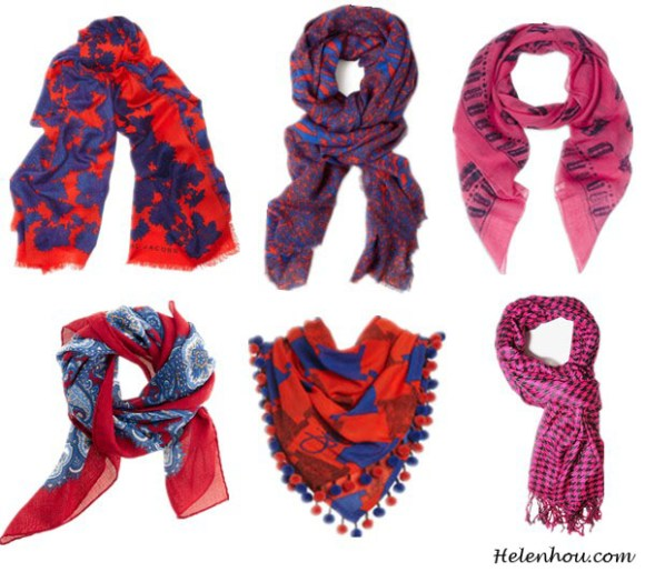 six ways to wear a scarf, Marc by Marc Jacobs Spring 2013 RTW, new york fashion week, blue and red scarves, slippers with socks, sandals with socks,  wooden geisha slipper, Marc by Marc Jacobs Onyx printed wool scarf,  Diane von Furstenberg Kenley Scarf,  McQ by Alexander McQueen 'Razor Blade' Scarf Womens Magenta One Size,  Forever21 Houndstooth Fringe Scarf, Diane von Furstenberg New Rochelle Scarf,  Drake's London Paisley square scarf, helenhou, helen hou, the art of accessorizing, accessoriseart, celebrity style, street style, lookbook, model off-duty,red carpet looks,red carpet looks for less, fashion, style, outfits, fashion guru, style guru, fashion stylist, what to wear, fashion expert, blogger, style blog, fashion blog,look of the day, celebrity look,celebrity outfit,designer shoes, designer cloth,designer handbag,
