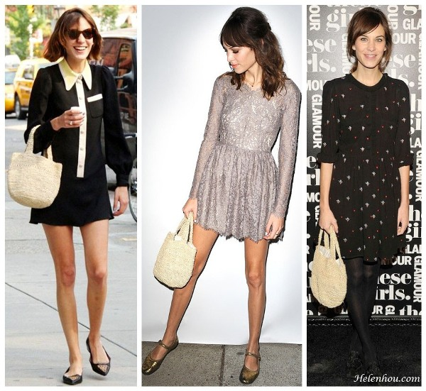 Alexa Chung,straw tote, three ways to wear strew bag, lace dress, metalllic mary jane shoes, gold flat,black and white dress, printed dress, black essenble, helenhou, helen hou, the art of accessorizing, accessoriseart, celebrity style, street style, lookbook, model off-duty,red carpet looks,red carpet looks for less, fashion, style, outfits, fashion guru, style guru, fashion stylist, what to wear, fashion expert, blogger, style blog, fashion blog,look of the day, celebrity look,celebrity outfit,designer shoes, designer cloth,designer handbag,