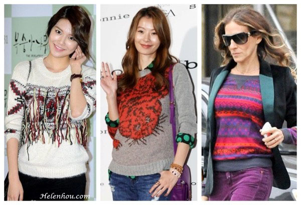 Choi Soo Young, Yoon Soy,Sarah Jessica Parker,printed sweater, patterned sweater, boyfriend jeans, ankle booties, purple jeans,Splendid Breckenridge Thermal Top, how to wear colored jeans, how to wear patterned sweater,  helenhou, helen hou, the art of accessorizing, accessoriseart,   celebrity style, street style, lookbook, model off-duty,red carpet   looks,red carpet looks for less, fashion, style, outfits, fashion   guru, style guru, fashion stylist, what to wear, fashion expert,   blogger, style blog, fashion blog,look of the day, celebrity   look,celebrity outfit,designer shoes, designer cloth,designer   handbag,