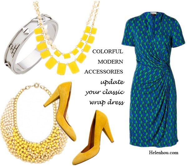 House of Harlow 1960 Aztec silverBangle, Nikki Reed outfit, how to wear a wrap dress, striped dress,yellow accessories,yellow BaubleBar acrylic necklace, yellow shoeMint pumps,  ISSA Royal/Green Viscose Jersey Side Drape Dress,   Bauble Bar Saffron Ombre Bib,   MadewellThe Film Noir Pump in suede,  IppolitaIppolita Sterling Silver Goddess Bangle,  Kate Spade New York - Treasure Chest Double Row Necklace, helenhou, helen hou, the art of accessorizing, accessoriseart, celebrity style, street style, lookbook, model off-duty,red carpet looks,red carpet looks for less, fashion, style, outfits, fashion guru, style guru, fashion stylist, what to wear, fashion expert, blogger, style blog, fashion blog,look of the day, celebrity look,celebrity outfit,designer shoes, designer cloth,designer handbag,