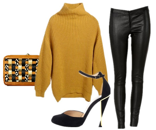 fall essential, wardrobe essential, Elin Kling for GUESS by Marciano, how to wear mustard yellow sweater, how to wear chunky sweater, Olivia Palermo, Elin Kling ,Mancinas, knit sweater with leather, knit with denim,  Elin Kling for GUESS by Marciano,alice + olivia Front Zip Leather Leggings ,Diane Von FurstenbergLucette shoes,Rachana Reddy at Boticca.com@BoticcaCarpet from Boticca,  helenhou, helen hou, the art of accessorizing, accessoriseart, celebrity style, street style, lookbook, model off-duty,red carpet looks,red carpet looks for less, fashion, style, outfits, fashion guru, style guru, fashion stylist, what to wear, fashion expert, blogger, style blog, fashion blog,look of the day, celebrity look,celebrity outfit,designer shoes, designer cloth,designer handbag,