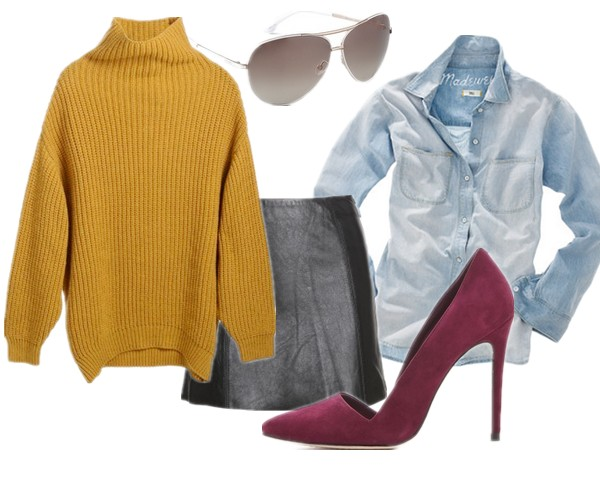 fall essential, wardrobe essential, Elin Kling for GUESS by Marciano, how to wear mustard yellow sweater, how to wear chunky sweater, Olivia Palermo, Elin Kling ,Mancinas, knit sweater with leather, knit with denim,  Elin Kling for GUESS by Marciano,MadewellPerfect Chambray Ex-Boyfriend Shirt in Ferrous Wash,T by Alexander Wang Leather A-Line Mini Skirt in Black,Alice + Oliviaalice + olivia Dina Suede Pumps,Marc by Marc Jacobs Oversized Aviator Sunglasses,  helenhou, helen hou, the art of accessorizing, accessoriseart, celebrity style, street style, lookbook, model off-duty,red carpet looks,red carpet looks for less, fashion, style, outfits, fashion guru, style guru, fashion stylist, what to wear, fashion expert, blogger, style blog, fashion blog,look of the day, celebrity look,celebrity outfit,designer shoes, designer cloth,designer handbag,