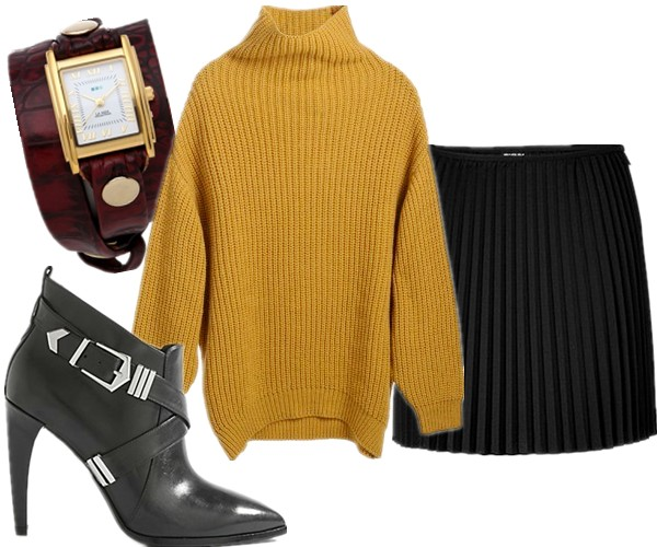 fall essential, wardrobe essential, Elin Kling for GUESS by Marciano, how to wear mustard yellow sweater, how to wear chunky sweater, Olivia Palermo, Elin Kling ,Mancinas, knit sweater with leather, knit with denim,  Elin Kling for GUESS by Marciano,  DKNY Pleated Skirt,Elin Kling for Marciano - Eridget Bootie,La Mer CollectionsLa Mer Collections Limited Edition Croco Wrap Watch ,  helenhou, helen hou, the art of accessorizing, accessoriseart, celebrity style, street style, lookbook, model off-duty,red carpet looks,red carpet looks for less, fashion, style, outfits, fashion guru, style guru, fashion stylist, what to wear, fashion expert, blogger, style blog, fashion blog,look of the day, celebrity look,celebrity outfit,designer shoes, designer cloth,designer handbag,