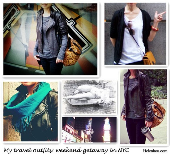 "Travel Outfits,Weekend Getaway In NYC, what to wear when travel,Jacket: ASOS Leather Look Quilted Biker Jacket (great buy here),DL1961Emma Legging Jeans, Grey shirt,T by Alexander Wang Classic Long Sleeve Pocket in Heather Grey,H&M leopard bag,  Black cardigan, Ann Taylor Black Space Dye Cardigan Sweater,  White tee,Three Dots Short Sleeve Tee Thunder Small,  Cross body bag,Zara, Accessories,SpaRitual ,Evolve Collection of Nail Lacquer (Driftwood) in ""Moss"",craft market bangle ,Customized sunglasses,    New York & Company blue wool snood Scarf,   helenhou, helen hou, the art of accessorizing, accessoriseart, celebrity style, street style, lookbook, model off-duty,red carpet looks,red carpet looks for less, fashion, style, outfits, fashion guru, style guru, fashion stylist, what to wear, fashion expert, blogger, style blog, fashion blog,look of the day, celebrity look,celebrity outfit,designer shoes, designer cloth,designer handbag,"