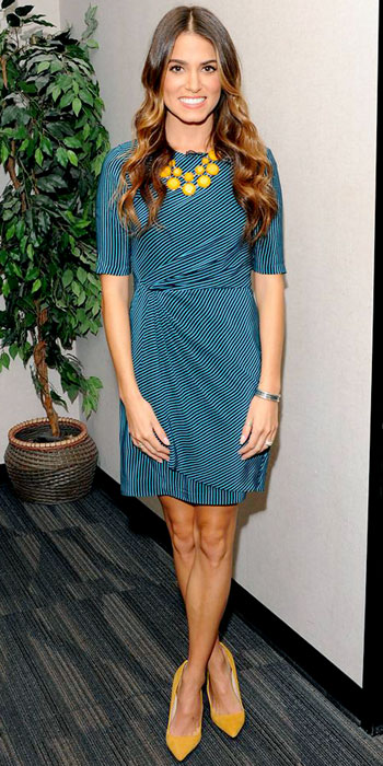 Nikki Reed outfit, how to wear a wrap dress, striped dress,yellow accessories,yellow BaubleBar acrylic necklace, yellow shoeMint pumps, helenhou, helen hou, the art of accessorizing, accessoriseart, celebrity style, street style, lookbook, model off-duty,red carpet looks,red carpet looks for less, fashion, style, outfits, fashion guru, style guru, fashion stylist, what to wear, fashion expert, blogger, style blog, fashion blog,look of the day, celebrity look,celebrity outfit,designer shoes, designer cloth,designer handbag,
