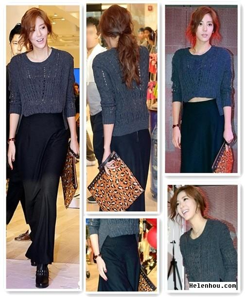 Son Dambi outfit, Korean start style, Korean star hair, how to wear a leaopard clutch, wear maxi skirt in fall, cropped sweater, burgundy, wrap watch, studded booties, helenhou, helen hou, the art of accessorizing, accessoriseart,   celebrity style, street style, lookbook, model off-duty,red carpet   looks,red carpet looks for less, fashion, style, outfits, fashion   guru, style guru, fashion stylist, what to wear, fashion expert,   blogger, style blog, fashion blog,look of the day, celebrity   look,celebrity outfit,designer shoes, designer cloth,designer   handbag,