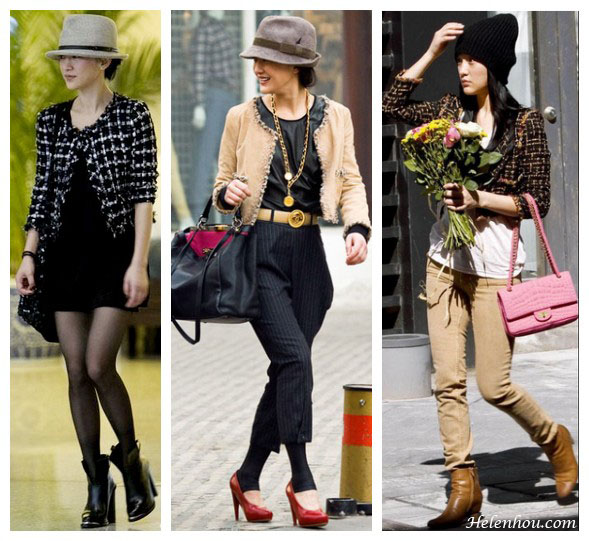 how to look taller, how to look younger, Chanel ambassador,actress Zhou Xun,how to wear a tweed jacket, cropped tweed jacket,how to wear fedora, winter hats, pink chanel quilted bag, red pumps, high waisted pants,  helenhou, helen hou, the art of accessorizing, accessoriseart, celebrity style, street style, lookbook, model off-duty,red carpet looks,red carpet looks for less, fashion, style, outfits, fashion guru, style guru, fashion stylist, what to wear, fashion expert, blogger, style blog, fashion blog,look of the day, celebrity look,celebrity outfit,designer shoes, designer cloth,designer handbag,