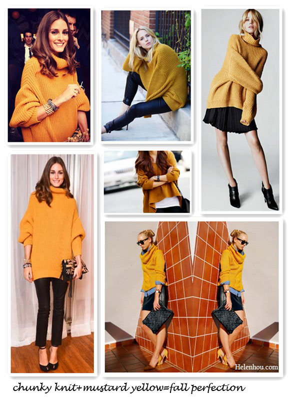 fall essential, wardrobe essential, Elin Kling for GUESS by Marciano, how to wear mustard yellow sweater, how to wear chunky sweater, Olivia Palermo, Elin Kling ,Mancinas, knit sweater with leather, knit with denim, helenhou, helen hou, the art of accessorizing, accessoriseart, celebrity style, street style, lookbook, model off-duty,red carpet looks,red carpet looks for less, fashion, style, outfits, fashion guru, style guru, fashion stylist, what to wear, fashion expert, blogger, style blog, fashion blog,look of the day, celebrity look,celebrity outfit,designer shoes, designer cloth,designer handbag,
