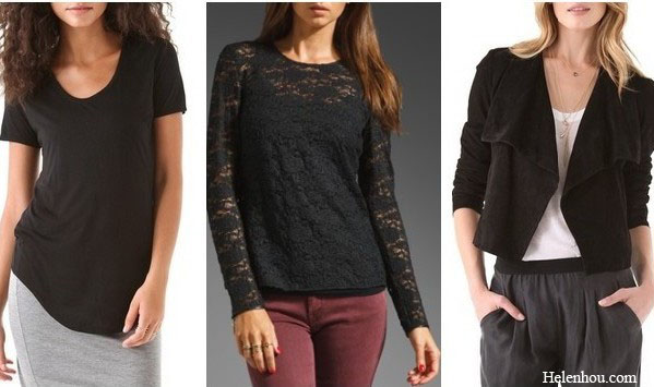 HELMUT Scoop Neck Tee  (extra 20% off with F&F code WEAREFAMILY) Juicy Couture Cire Lace Long Sleeve Top with Leather in Black (great style here) Theory Kanya L Suede Jacket (also here)
