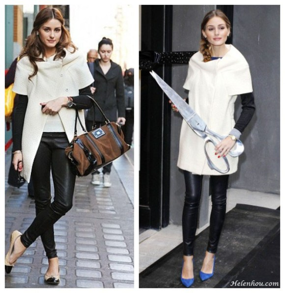 Olivia Palermo, white short sleeve coat, how to wear a short sleeve coat, what to wear with white coat, wear white in winter, black sweater, leather pants, cap toe flats, cobalt suede pumps,  helenhou, helen hou, the art of accessorizing, accessoriseart, celebrity style, street style, lookbook, model off-duty,red carpet looks,red carpet looks for less, fashion, style, outfits, fashion guru, style guru, fashion stylist, what to wear, fashion expert, blogger, style blog, fashion blog,look of the day, celebrity look,celebrity outfit,designer shoes, designer cloth,designer handbag,