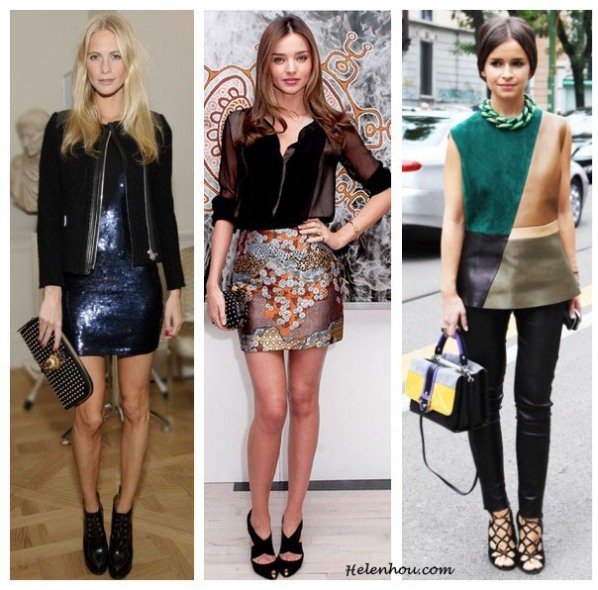 Holiday Party Outfit Ideas For Women Of Different Ages,how to wear sequin dress, what to wear to party,Poppy Delevingne, Miranda Kerr,Miroslava Duma, holiday party outfit, sequin dress, brocade skirt, colorblock, leather top,sheer blouse, statement necklace, studded clutch, box clutch, helenhou, helen hou, the art of accessorizing, accessoriseart, celebrity style, street style, lookbook, model off-duty,red carpet looks,red carpet looks for less, fashion, style, outfits, fashion guru, style guru, fashion stylist, what to wear, fashion expert, blogger, style blog, fashion blog,look of the day, celebrity look,celebrity outfit,designer shoes, designer cloth,designer handbag,