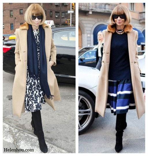 Anna Wintour, camel coat, winter coat, how to wear with a camel coat, how to accessorize camel coat, fur trimmed coat, leopard dress, cashmere scarf, navy scarf, crystal necklace, striped skirt, navy sweater, suede boots, red skirt, brown and red,   helenhou, helen hou, the art of accessorizing, accessoriseart, celebrity style, street style, lookbook, model off-duty,red carpet looks,red carpet looks for less, fashion, style, outfits, fashion guru, style guru, fashion stylist, what to wear, fashion expert, blogger, style blog, fashion blog,look of the day, celebrity look,celebrity outfit,designer shoes, designer cloth,designer handbag,