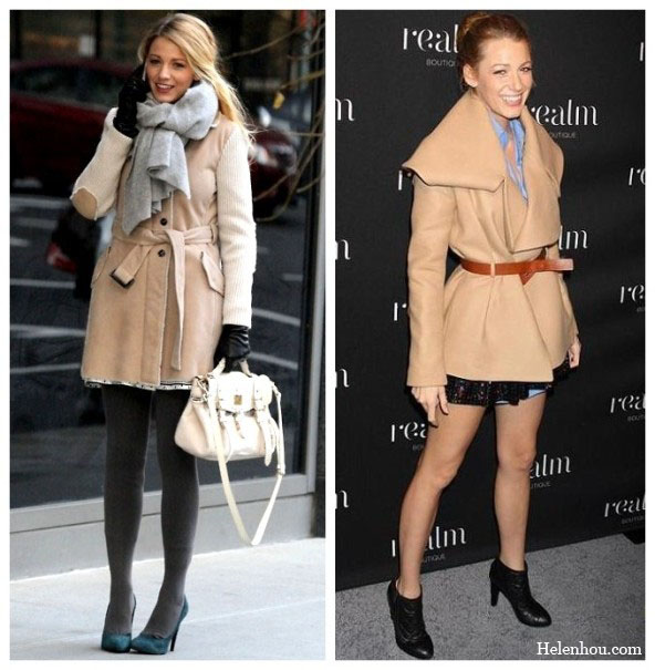 Blake Lively, camel coat, how to wear camel coat, how to accessories camel coat, mulberry bag, dark green suede pumps,grey scarf, blue shirt, sequined skirt, ankle booties,    helenhou, helen hou, the art of accessorizing, accessoriseart, celebrity style, street style, lookbook, model off-duty,red carpet looks,red carpet looks for less, fashion, style, outfits, fashion guru, style guru, fashion stylist, what to wear, fashion expert, blogger, style blog, fashion blog,look of the day, celebrity look,celebrity outfit,designer shoes, designer cloth,designer handbag,