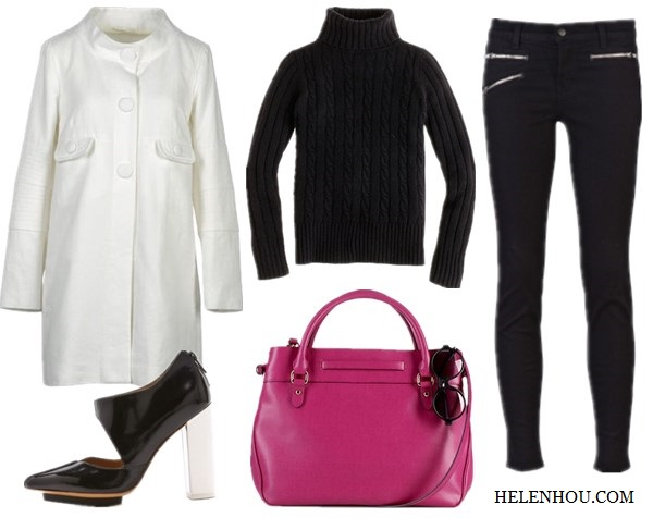 Jessica Chastain,holiday get away outfit, black and white, resort look, white coat, pink leather bag, black ensemble, striped dress, black coat, black patent leather boots,red leather bag, sunglasses, how to accessorize black and white, Ralph LaurenLAUREN Newbury Belted Satchel,  Prada 'Baroque' Round Sunglasses,     MAURO GRIFONICoat,  J.CrewCambridge cable chunky turtleneck sweater,    J BrandZoey Triple Zip Skinny Jeans  ,  3.1 Phillip LimKadie Cut Out Booties,   helenhou, helen hou, the art of accessorizing, accessoriseart, celebrity style, street style,   lookbook, model off-duty,red carpet looks,red carpet looks for less, fashion, style, outfits,   fashion guru, style guru, fashion stylist, what to wear, fashion expert, blogger, style blog,   fashion blog,look of the day, celebrity look,celebrity outfit,designer shoes, designer   cloth,designer handbag,
