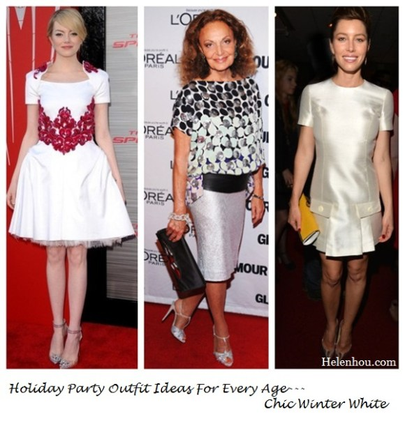 Emma Stone, Diane Von Furstenberg ,Jessica Biel, Holiday Party Outfit ideas, wear white in winter,chanel white dress, Diane Von Furstenberg clutch, sequin skirt, Michael Kors dress, Jimmy Choo shoes, Fendi clutch, and Jennifer Meyer earrings,   helenhou, helen hou, the art of accessorizing, accessoriseart, celebrity style, street style, lookbook, model off-duty,red carpet looks,red carpet looks for less, fashion, style, outfits, fashion guru, style guru, fashion stylist, what to wear, fashion expert, blogger, style blog, fashion blog,look of the day, celebrity look,celebrity outfit,designer shoes, designer cloth,designer handbag,