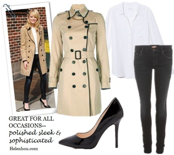 Miranda Kerr, Poppy Delevingne ,Emma Stone, holiday outfit ideas, holiday activities,classic trench coat,how to wear trench coat, striped tee shirt, distressed jeans, leopard loafer, celine luggage tote, striped t shirt, floral high-low dress, leather booties, black pumps, skinny jeans, white button down shirt, white blouse, Burberry LondonLeather-Trim Gabardine Trenchcoat,  Merona® Water Repellent Classic Trench Coat - Assorted Colors ,  Boutique 9 Justine Patent Leather Pumps ,  Equipment Brett Blouse in Bright White ,  MOTHER The Looker Skinny Jeans,    helenhou, helen hou, the art of accessorizing, accessoriseart, celebrity style, street style, lookbook, model off-duty,red carpet looks,red carpet looks for less, fashion, style, outfits, fashion guru, style guru, fashion stylist, what to wear, fashion expert, blogger, style blog, fashion blog,look of the day, celebrity look,celebrity outfit,designer shoes, designer cloth,designer handbag,