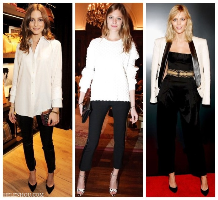 Olivia Palermo, Constance Jablonski ,Anja Rubik, black and white, white silk bouse, black leather pants, gold watch, white sweater, black pants, polka dot ankle strap shoes, black jumpsuit, white tuxedo blazer, embellished belt, how to accessories black and white, what to wear with black, holiday party outfit idea,      helenhou, helen hou, the art of accessorizing, accessoriseart, celebrity style, street style, lookbook, model off-duty,red carpet looks,red carpet looks for less, fashion, style, outfits, fashion guru, style guru, fashion stylist, what to wear, fashion expert, blogger, style blog, fashion blog,look of the day, celebrity look,celebrity outfit,designer shoes, designer cloth,designer handbag,