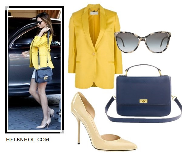 Miranda Kerr, Diane Von Furstenberg ,Lily Aldridge,  Bvlgari ring, Miu Miu crossbody bag, MCS Elena bracelet, Celine nude pink pumps, Erdem printed shirt, Stella McCartney printed sunglasses, Stella McCartney yellow blazer, Rag and Bone white mini skirt, Goya Top with Leather ,black pencil skirt, ankle strap pumps,yellow peplum top, celine bag, leather pants, black pumps,what to wear with yellow, Stella McCartney saffron woven single button blazer,  J.CrewEdie purse ,  Manolo BlahnikBB Patent Leather Point Toe Pumps,  Stella McCartney - SM-4038 (Grey Spotty Tortoise/Grey Gradient) - Eyewear,  Gucci Noah Patent Leather d'Orsay Pumps,     helenhou, helen hou, the art of accessorizing, accessoriseart, celebrity style, street style, lookbook, model off-duty,red carpet looks,red carpet looks for less, fashion, style, outfits, fashion guru, style guru, fashion stylist, what to wear, fashion expert, blogger, style blog, fashion blog,look of the day, celebrity look,celebrity outfit,designer shoes, d	esigner cloth,designer handbag,