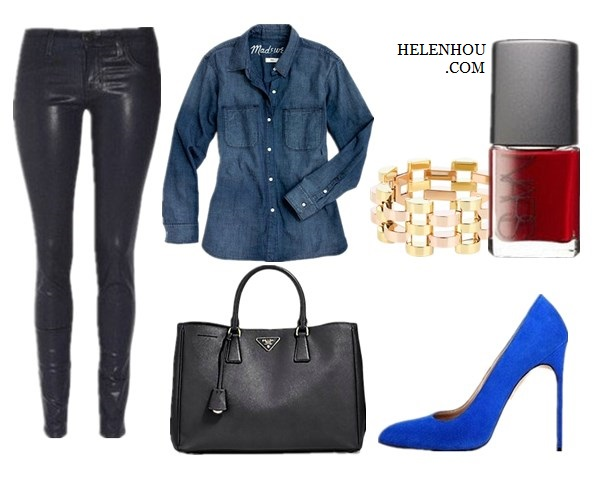 HOW TO WEAR DENIM SHIRT IN WINTER, chambray shirt, olivia palermo, hermes bag, bella dahl denim shirt, tibi two tone blazer, leather pants, Manolo Blahnik blue suede pumps, gold bracelet, what to wear with leather pants, Shirt: Madewellperfect chambray ex-boyfriend shirt in harvest wash,  Pants: J Brand ,  Bag:Prada Saffiano Lux Tote Bag,  Shoes: Manolo Blahnik,  Accessories: Michael Kors - Very Hollywood Deco Link Bracelet (Two Tone) - Jewelry (on sale),Nars nail polish,    helenhou, helen hou, the art of accessorizing, accessoriseart, celebrity style, street style, lookbook, model off-duty,red carpet looks,red carpet looks for less, fashion, style, outfits, fashion guru, style guru, fashion stylist, what to wear, fashion expert, blogger, style blog, fashion blog,look of the day, celebrity look,celebrity outfit,designer shoes, designer cloth,designer handbag,