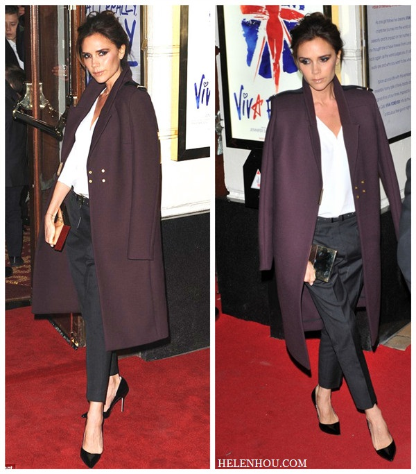 Victoria Beckham, plum coat, Isabel Marant black cropped pants, white shirt, pointy toe black pumps, metallic clutch,how to wear black and white,    helenhou, helen hou, the art of accessorizing, accessoriseart, celebrity style, street style, lookbook, model off-duty,red carpet looks,red carpet looks for less, fashion, style, outfits, fashion guru, style guru, fashion stylist, what to wear, fashion expert, blogger, style blog, fashion blog,look of the day, celebrity look,celebrity outfit,designer shoes, d	esigner cloth,designer handbag,