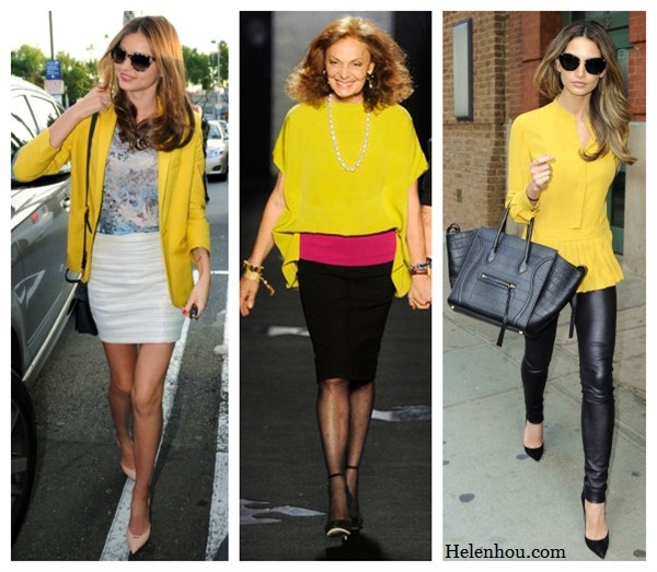 Miranda Kerr, Diane Von Furstenberg ,Lily Aldridge,  Bvlgari ring, Miu Miu crossbody bag, MCS Elena bracelet, Celine nude pink pumps, Erdem printed shirt, Stella McCartney printed sunglasses, Stella McCartney yellow blazer, Rag and Bone white mini skirt, Goya Top with Leather ,black pencil skirt, ankle strap pumps,yellow peplum top, celine bag, leather pants, black pumps,what to wear with yellow,     helenhou, helen hou, the art of accessorizing, accessoriseart, celebrity style, street style, lookbook, model off-duty,red carpet looks,red carpet looks for less, fashion, style, outfits, fashion guru, style guru, fashion stylist, what to wear, fashion expert, blogger, style blog, fashion blog,look of the day, celebrity look,celebrity outfit,designer shoes, d	esigner cloth,designer handbag,