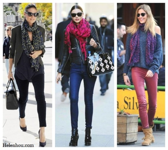 Heidi Klum, Miranda Kerr ,Ana Beatriz Barros,colored leopard scarf,red leopard scarf, purple leopard scarf,skinny jeans, olive blazer, balenciaga leather jacket,j brand coated red skinny jeans, off shoulder sweater,how to wear leopard scarf, stylish fall/winter outfit,prada floral tote,    helenhou, helen hou, the art of accessorizing, accessoriseart, celebrity style, street style, lookbook, model off-duty,red carpet looks,red carpet looks for less, fashion, style, outfits, fashion guru, style guru, fashion stylist, what to wear, fashion expert, blogger, style blog, fashion blog,look of the day, celebrity look,celebrity outfit,designer shoes, d	esigner cloth,designer handbag,