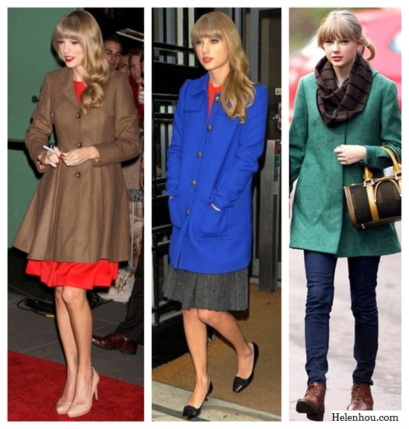 Taylor Swift, winter coat, what to wear with colored winter coat, camel coat, cobalt blue coat, green blue coat, red dress, nude pumps, color block, orange top, grey skirt, ballet flats, ankle boots,infinity scarf,     helenhou, helen hou, the art of accessorizing, accessoriseart, celebrity style, street style, lookbook, model off-duty,red carpet looks,red carpet looks for less, fashion, style, outfits, fashion guru, style guru, fashion stylist, what to wear, fashion expert, blogger, style blog, fashion blog,look of the day, celebrity look,celebrity outfit,designer shoes, d	esigner cloth,designer handbag,