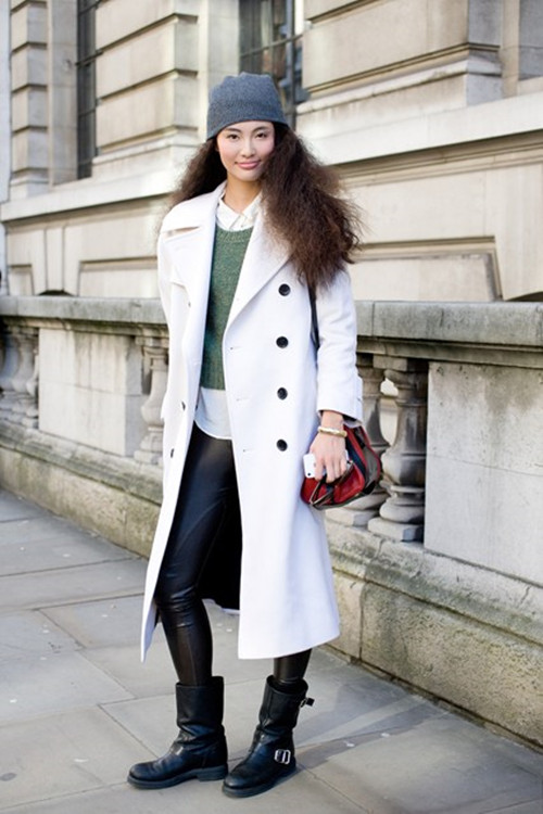 Model Bonnie Chen, street style, london fashion week, white coat, beanie, crossbody bag, leather pants, rider boots, motorcycle boots, white shirt,    helenhou, helen hou, the art of accessorizing, accessoriseart, celebrity style, street style, lookbook, model off-duty,red carpet looks,red carpet looks for less, fashion, style, outfits, fashion guru, style guru, fashion stylist, what to wear, fashion expert, blogger, style blog, fashion blog,look of the day, celebrity look,celebrity outfit,designer shoes, d	esigner cloth,designer handbag,