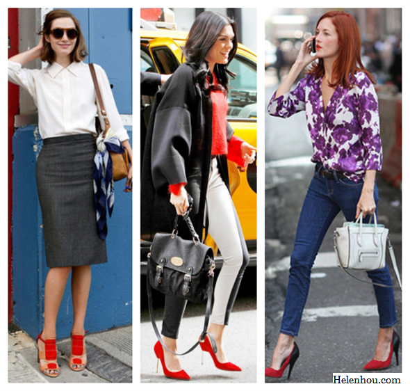 how to wear red, red shoes, new york fashion week, street style, Jessie J , Taylor Tomasi Hill , colorblock pants, side track pants, white shirt, pencil skirt, red colorblock sandals, brown crossbody bag, blue printed scarf, topshop red sweater, red pumps, mulberry bag, oversize black coat, purple floral shirt, skinny jeans, celine white bag, colorblock pump, helenhou, helen hou, the art of accessorizing, accessoriseart, celebrity style, street style, lookbook, model off-duty,red carpet looks,red carpet looks for less, fashion, style, outfits, fashion guru, style guru, fashion stylist, what to wear, fashion expert, blogger, style blog, fashion blog,look of the day, celebrity look,celebrity outfit,designer shoes, designer cloth,designer handbag,