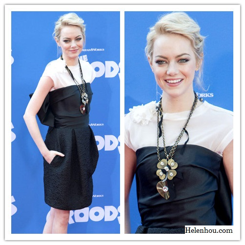 emma stone, lanvin black dress, statement necklace, white tee shirt, nude pumps,make black dress daytime appropriate  helenhou, helen hou, the art of accessorizing, accessoriseart, celebrity style, street style, lookbook, model off-duty,red carpet looks,red carpet looks for less, fashion, style, outfits, fashion guru, style guru, fashion stylist, what to wear, fashion expert, blogger, style blog, fashion blog,look of the day, celebrity look,celebrity outfit,designer shoes, designer cloth,designer handbag,