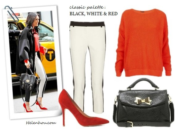 how to wear red, red shoes, new york fashion week, street style, Jessie J , Taylor Tomasi Hill , colorblock pants, side track pants, white shirt, pencil skirt, red colorblock sandals, brown crossbody bag, blue printed scarf, topshop red sweater, red pumps, mulberry bag, oversize black coat, purple floral shirt, skinny jeans, celine white bag, colorblock pump, Topshop Knitted Scoop Neck Jumper,   TibiTibi Tuxedo Beatles Pants ,  Topshop 'Gwenda' Pump,  Ted Baker Mayson Leather Lady Bag , helenhou, helen hou, the art of accessorizing, accessoriseart, celebrity style, street style, lookbook, model off-duty,red carpet looks,red carpet looks for less, fashion, style, outfits, fashion guru, style guru, fashion stylist, what to wear, fashion expert, blogger, style blog, fashion blog,look of the day, celebrity look,celebrity outfit,designer shoes, designer cloth,designer handbag,