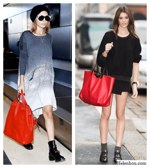 Nicole Richie , street style, how to wear red, red bag, Raquel Allegra Laddered Tie-Dye Cotton-Blend Jersey Dress,Givenchy Nightingale red Bag,Balenciaga black patent leather ankle boots ,statement House of Harlow sunglasses, black beanie, black sweater, two tone tote, black and red bag, faux wrap skirt, Asymmetrical hemline,menswear shoes,   helenhou, helen hou, the art of accessorizing, accessoriseart, celebrity style, street style, lookbook, model off-duty,red carpet looks,red carpet looks for less, fashion, style, outfits, fashion guru, style guru, fashion stylist, what to wear, fashion expert, blogger, style blog, fashion blog,look of the day, celebrity look,celebrity outfit,designer shoes, designer cloth,designer handbag,