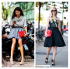 Jane Keltner de Valle, Giovanna Battaglia,street style, black and white, pop of red, clear bag, red bag, bow pump, pastel, grey drape front top, blue pleat skirt, gold chain necklace, tropical top, black skirt, lace up booties, lace up sandal, helenhou, helen hou, the art of accessorizing, accessoriseart, celebrity style, street style, lookbook, model off-duty,red carpet looks,red carpet looks for less, fashion, style, outfits, fashion guru, style guru, fashion stylist, what to wear, fashion expert, blogger, style blog, fashion blog,look of the day, celebrity look,celebrity outfit,designer shoes, designer cloth,designer handbag, MICHAEL MICHAEL KORS envelope shoulder bag