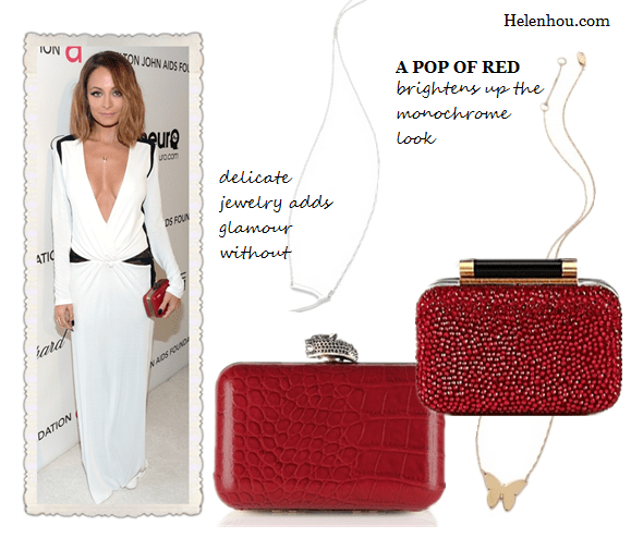 The art of accessorizing-helenhou.com-red clutch and black white gown inspired by Nicole Richie