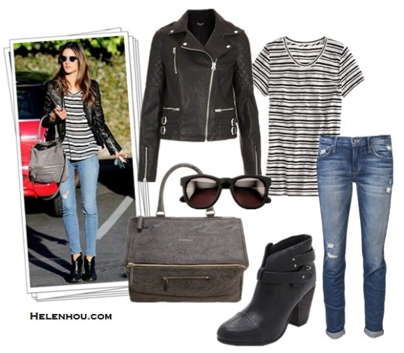 Nicole Richie, Alessandra Ambrosio,leather jacket, distressed jeans, Givenchy bag, Fendi 2Jours Calf Hair Tote Bag,colorblock bag,  stripe tee, retro sunglasses, printed pumps, ankle booties, sheer blouse,House Of Harlow 1960 Dreamer Sunglasses in Black,House of Harlow 1960 Nomadic Warrior Arrow Necklace,Gorjana Taner necklace, Christian Louboutin ankle booties, Wildfox The Classic Fox Sunglasses in Tortoise,Givenchy Large Pandora Messenger,how to wear leather jacket,  Topshop 'Wylde' Faux Leather Biker Jacket, J.Crew Vintage cotton tee in stripe,Joe's Jeans Renah Rolled Skinny Jeans , Rag & Bone Harrow Booties,  helenhou, helen hou, the art of accessorizing, accessoriseart, celebrity style, street style, lookbook, model off-duty,red carpet looks,red carpet looks for less, fashion, style, outfits, fashion guru, style guru, fashion stylist, what to wear, fashion expert, blogger, style blog, fashion blog,look of the day, celebrity look,celebrity outfit,designer shoes, designer cloth,designer handbag,