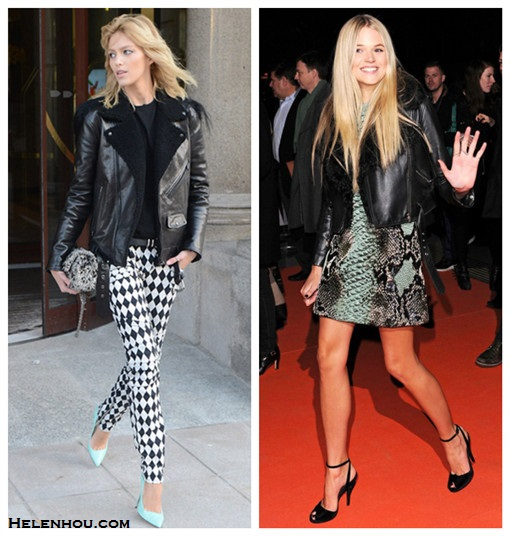 Anja Rubik, Gabriella Wilde, leather jacket, black and white,  Harlequin-print motocross-style skinny jeans, mint pumps, tweed bag, black top,  Gucci multicoloured python jacquard tunic dress,  black ankle strap  peep-toe   sandals,  how to style leather jacket, what to wear with bold print, how to wear colored shoes, how to wear ankle strap shoes,   helenhou, helen hou, the art of accessorizing, accessoriseart, celebrity style,   street style, lookbook, model off-duty,red carpet looks,red carpet looks for less,   fashion, style, outfits, fashion guru, style guru, fashion stylist, what to wear,   fashion expert, blogger, style blog, fashion blog,look of the day, celebrity   look,celebrity outfit,designer shoes, designer cloth,designer handbag,