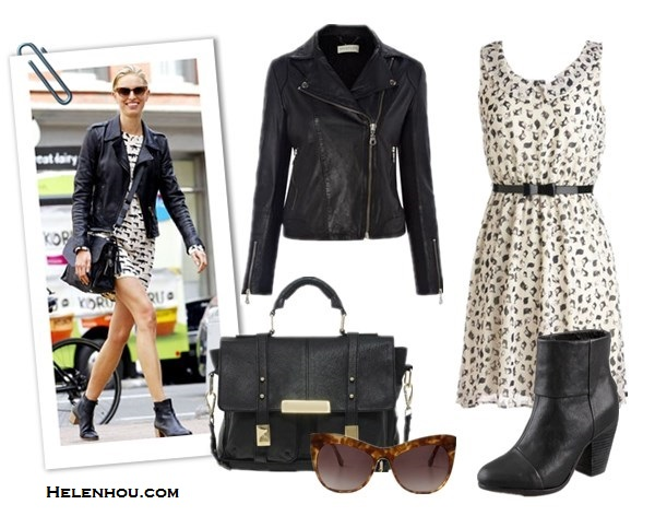 Emma Stone , Karolina Kurkova,what to wear with leather jacket, black and white printed dress, BLUMARINE sleeveless leaf print dress, nude flats, brown leather bag, stylish scarf, black satchel,black ankle booties, cat eye sunglasses, edgy and feminine, leather jacket and dress, Whistles Mila Leather Jacket, ModCloth Fine Feathered Finches Dress , ASOSLeather Satchel Bag With Metal Tips, Rag & Bone Classic Newbury Booties , Elizabeth and James Lafayette Cat Eye Sunglasses,  helenhou, helen hou, the art of accessorizing, accessoriseart, celebrity style, street style, lookbook, model off-duty,red carpet looks,red carpet looks for less, fashion, style, outfits, fashion guru, style guru, fashion stylist, what to wear, fashion expert, blogger, style blog, fashion blog,look of the day, celebrity look,celebrity outfit,designer shoes, designer cloth,designer handbag,