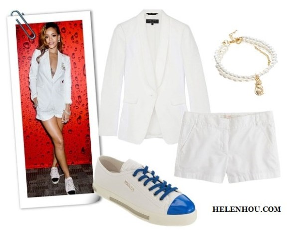 how to wear black and white, black and white for every age, Alessandra Ambrosio,Rihanna,Gwyneth Paltrow, white dress, black belt , black pump, white blazer, AA.L.C. top, cuffed white blazer ,black and gold sandals,IRO Color-block crepe jumpsuit, studded clutch, christian louboutin black pump, Rag & Bone white blazer, white shorts,diamond jewels,cap-toe sneakers, Rag And Bone White Textured And Quilted Jefferson white Blazer ,  J.Crew white chino short,  Prada Cap Toe Low Top Sneaker - White/royal Blue,,  Asos CollectionLimited Edition Pearl Cat Bracelet,  helenhou, helen hou, the art of accessorizing, accessoriseart, celebrity style, street style, lookbook, model off-duty,red carpet looks,red carpet looks for less, fashion, style, outfits, fashion guru, style guru, fashion stylist, what to wear, fashion expert, blogger, style blog, fashion blog,look of the day, celebrity look,celebrity outfit,designer shoes, designer cloth,designer handbag,