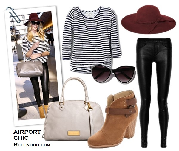 Miranda Kerr ,Rosie Huntington-Whiteley,airport style, Yves Saint Laurent duffel bag, Brian Atwoo ankle booties, VELVET X Lily Aldridge striped top, Chanel sunglasses, Helmut Lang Stretch-Leather Leggings, MCS Elena bracelet,  Longines watch, Frame Denim jeans, Ellery black blazer, Miu Miu Velvet Embroidered Slip-On loafer, Zoe & Morgan Si bracelet, Tom Ford cat eye sunglasses, Viktor & Rolf burgundy bag,what to wear on a plane, what to wear for summer vacation, Velvet x Lily Aldridge Pearl Stripe Sweater in Navy/White,  Helmut LangHelmut Lang Stretch Leather Pants,  Marc by Marc Jacobs Washed Up Lauren grey leather bowling bag ,  Rag & Bone Harrow brown suede ankle Booties,  French ConnectionFancy Winter Floppy Hat ,  Uo Oversized Cat-eye Sunglasses - Black ,  helenhou, helen hou, the art of accessorizing, accessoriseart, celebrity style, street style, lookbook, model off-duty,red carpet looks,red carpet looks for less, fashion, style, outfits, fashion guru, style guru, fashion stylist, what to wear, fashion expert, blogger, style blog, fashion blog,look of the day, celebrity look,celebrity outfit,designer shoes, designer cloth,designer handbag,