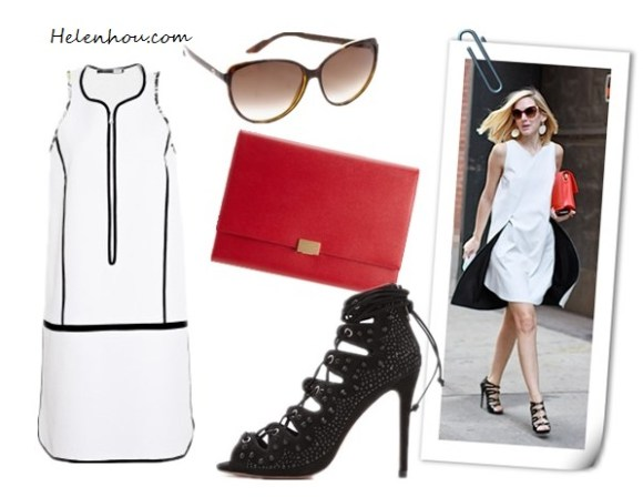 The art of accessorizing-helenhou.com-black and white with a pop of red inspired by Jane Keltner de Valle