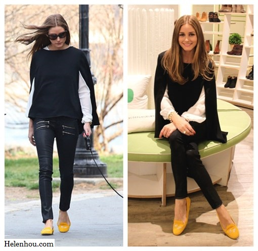 Olivia Palermo,  Zara white embellished blouse, Topshop black cape knit sweater, Paige Denim Coated Edgemont Ultra Skinny Jeans,SchoShoes Milano yellow loafer,Westside Leaning sunglasses, yellow skinny jeans,how to wear colored jeans, how to wear loafer,Hudson Jeans LeeLoo Leather Color Block Super Skinny Crop,    helenhou, helen hou, the art of accessorizing, accessoriseart, celebrity style, street style, lookbook, model off-duty,red carpet looks,red carpet looks for less, fashion, style, outfits, fashion guru, style guru, fashion stylist, what to wear, fashion expert, blogger, style blog, fashion blog,look of the day, celebrity look,celebrity outfit,designer shoes, designer cloth,designer handbag,