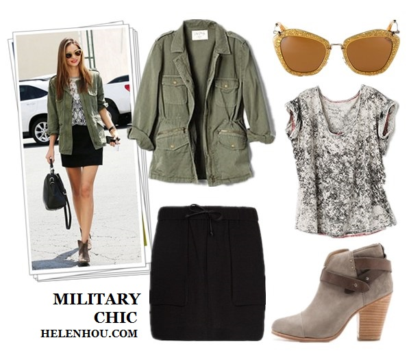 how to wear army jacket, military jacket, camo jacket, green jacket, Miranda Kerr ,Selena Gomez,Isabel Marant ankle boots, Miu Miu cat eye sunglasses, Velvet X Lily Aldridge army jacket, Josh Goot printed shirt, black mini skirt, black leather bag,Dolce & Gabbana Miss Escape Tote, Ray-ban Clubmaster Sunglasses,  Camouflage  Overshirt,red pump, beige scarf,   Free People Madness Wash Tee ,  MANGOFaux trimming miniskirt,  Rag & Bone Harrow Booties,  helenhou, helen hou, the art of accessorizing, accessoriseart, celebrity style, street style, lookbook, model off-duty,red carpet looks,red carpet looks for less, fashion, style, outfits, fashion guru, style guru, fashion stylist, what to wear, fashion expert, blogger, style blog, fashion blog,look of the day, celebrity look,celebrity outfit,designer shoes, designer cloth,designer handbag,