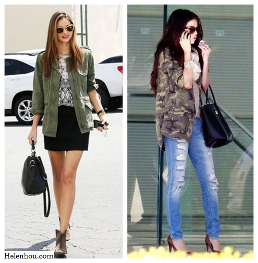 how to wear army jacket, military jacket, camo jacket, green jacket, Miranda Kerr ,Selena Gomez,Isabel Marant ankle boots, Miu Miu cat eye sunglasses, Velvet X Lily Aldridge army jacket, Josh Goot printed shirt, black mini skirt, black leather bag,Dolce & Gabbana Miss Escape Tote, Ray-ban Clubmaster Sunglasses,  Camouflage  Overshirt,red pump, beige scarf,   helenhou, helen hou, the art of accessorizing, accessoriseart, celebrity style, street style, lookbook, model off-duty,red carpet looks,red carpet looks for less, fashion, style, outfits, fashion guru, style guru, fashion stylist, what to wear, fashion expert, blogger, style blog, fashion blog,look of the day, celebrity look,celebrity outfit,designer shoes, designer cloth,designer handbag,