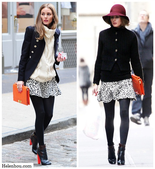 olivia palermo,street style, Aquazzura red heel booties, Zara black and white leopard skirt, Olivia & Joy orange clutch, burgundy white trim hat, black sweater, Club Monaco white turtleneck sweater, printed blouse, black jacket, how to wear leopard,  helenhou, helen hou, the art of accessorizing, accessoriseart, celebrity style, street   style, lookbook, model off-duty,red carpet looks,red carpet looks for less, fashion,   style, outfits, fashion guru, style guru, fashion stylist, what to wear, fashion   expert, blogger, style blog, fashion blog,look of the day, celebrity look,celebrity   outfit,designer shoes, designer cloth,designer handbag,
