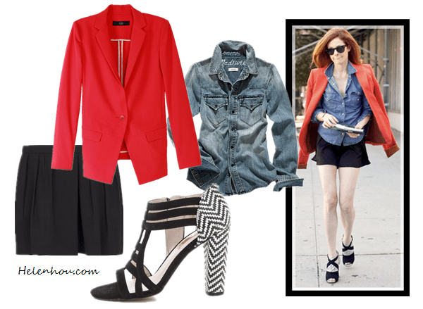 how to wear red jacket, spring outfit idea, Olivia Palermo, Stephanie Lacava,tibi red coat, blue skinny jeans, GIVENCHY Antigona Medium Stamped Tejus in Black ,Reiss Belle MULTI STRAP COURT SHOES,cat eye sunglasses, new york fashion week, street style, red blazer, chambray shirt, black shorts, strap sandal, Tibi Maverick Jacket, Western Jean Shirt in Desert Willow Wash,  MANGOPleated shorts,  ROSEGOLD Zane Woven Booties , helenhou, helen hou, the art of accessorizing, accessoriseart, celebrity style, street   style, lookbook, model off-duty,red carpet looks,red carpet looks for less, fashion,   style, outfits, fashion guru, style guru, fashion stylist, what to wear, fashion   expert, blogger, style blog, fashion blog,look of the day, celebrity look,celebrity   outfit,designer shoes, designer cloth,designer handbag,
