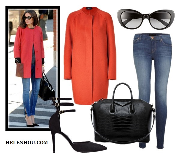 how to wear red jacket, spring outfit idea, Olivia Palermo, Stephanie Lacava,tibi red coat, blue skinny jeans, GIVENCHY Antigona Medium Stamped Tejus in Black ,Reiss Belle MULTI STRAP COURT SHOES,cat eye sunglasses, new york fashion week, street style, red blazer, chambray shirt, black shorts, strap sandal, Akris  USGlowing Red-Orange Wool-Angora Campagne Coat ,  J BrandJ Brand 811 Skinny Jeans,  GIVENCHY Antigona Medium Stamped Tejus in Black,  Reiss Belle MULTI STRAP COURT SHOES ,  Kate Spade New York cat eye sunglasses , helenhou, helen hou, the art of accessorizing, accessoriseart, celebrity style, street   style, lookbook, model off-duty,red carpet looks,red carpet looks for less, fashion,   style, outfits, fashion guru, style guru, fashion stylist, what to wear, fashion   expert, blogger, style blog, fashion blog,look of the day, celebrity look,celebrity   outfit,designer shoes, designer cloth,designer handbag,