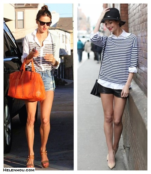 how to wear stripes, how to dress up stripes, how to wear leather shorts, striped top,  Alessandra Ambrosio, Lily Aldridge, CHLOÉ Triple strap sandal,Ella Moss Lila striped shirt in Royal,Gerard Darel Simple Bag cuir Melbourne in Orange,Westward Leading Mercury Seven sunglasses,distressed denim shorts, Lily Aldridge for velvet, striped top, white button down shirt, black leather shorts, nude pointy toe pumps, black fedora, black crossbody bag, dainty jewelry,summer outfit idea, denim shorts,    helenhou, helen hou, the art of accessorizing, accessoriseart, celebrity style, street style, lookbook, model off-duty,red carpet looks,red carpet looks for less, fashion, style, outfits, fashion guru, style guru, fashion stylist, what to wear, fashion expert, blogger, style blog, fashion blog,look of the day, celebrity look,celebrity outfit,designer shoes, designer cloth,designer handbag,