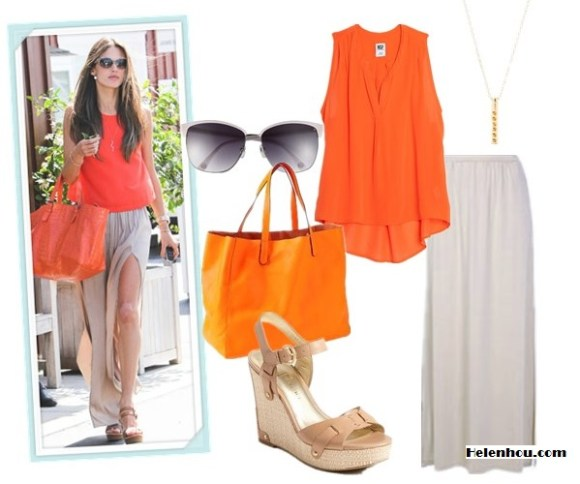 how to wear double side slit maxi skirt; how to wear bright orange; street style;  On Alessandra Ambrosio:Jennifer Zeuner Riley Long Skinny Snake Necklace with Emerald Eyes , Gerard Darel orange tote, Happiness Tank in Tangerine by lovers + friends,Chloé Leather Wedge Sandals,Kymerah double side slit maxi skirt; Alternatives: INTERMIXNSF EXCLUSIVE Split Collar Sleeveless Silk Blouse,  Charlotte Russe Double Side Slit Maxi Skirt,  Ivanka Trump 'Hollyann' Wedge,  Gap orange Leather Tote,  Gorjana Maudie Pendant Necklace,  MICHAEL Michael Kors 'Griffin' 15mm Retro Sunglasses,